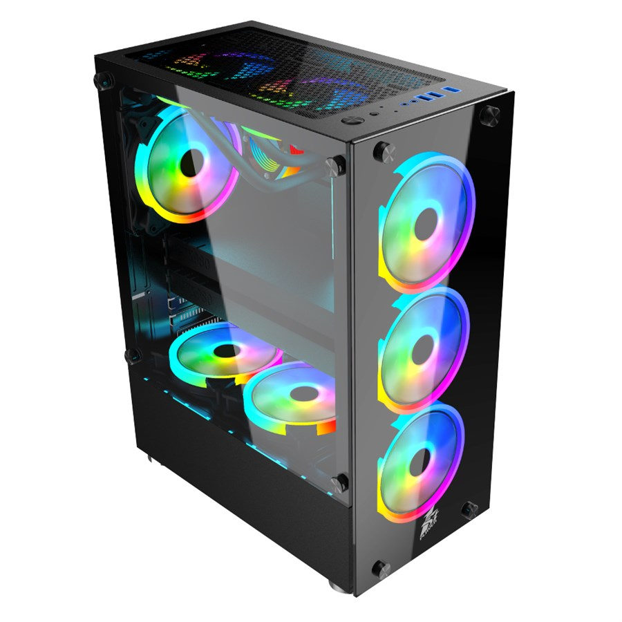 1st Player V2A Mid Tower ATX Gaming Case 3 Fans ARGB + Controller + Hub