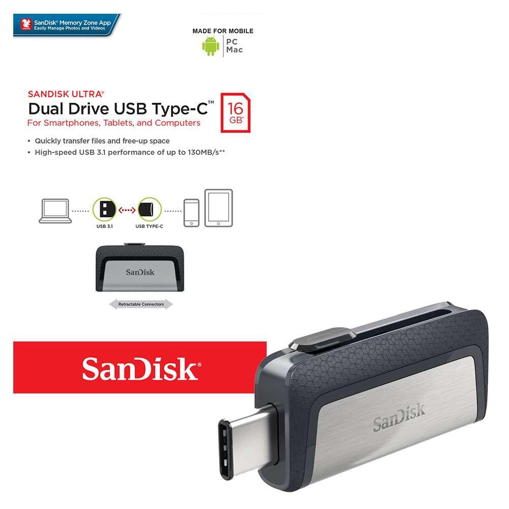 Sandisk 32GB Usb Drive 3.0 Ultra Dual Type-C